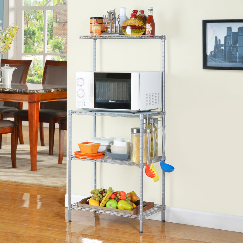 3 tier adjustable kitchen metal wire storage shelf home holders for sundries use - copy