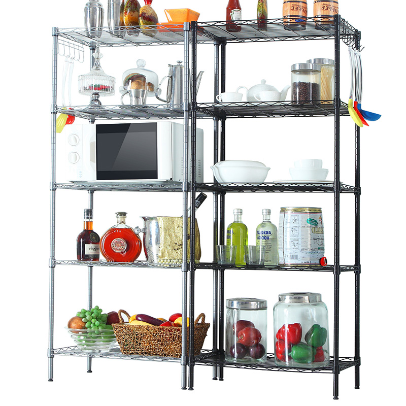 KR019 5Tier Multi-purpose Home Kitchen microwave oven rack Metal Storage Shelving Wire Shelf with hooks